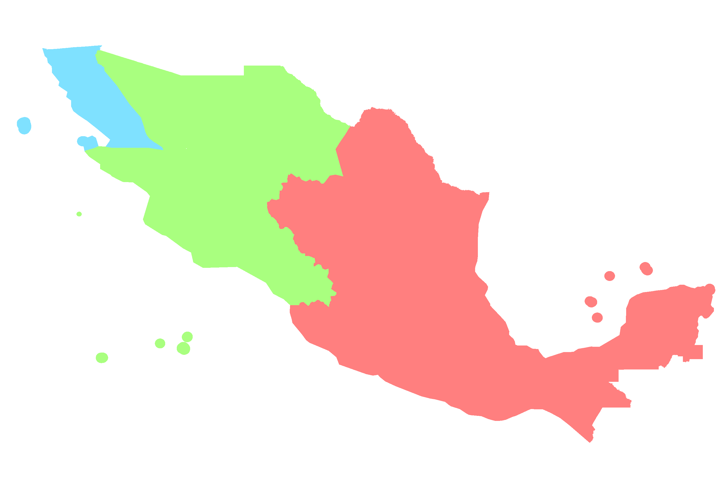 Map of Time Zones in Mexico