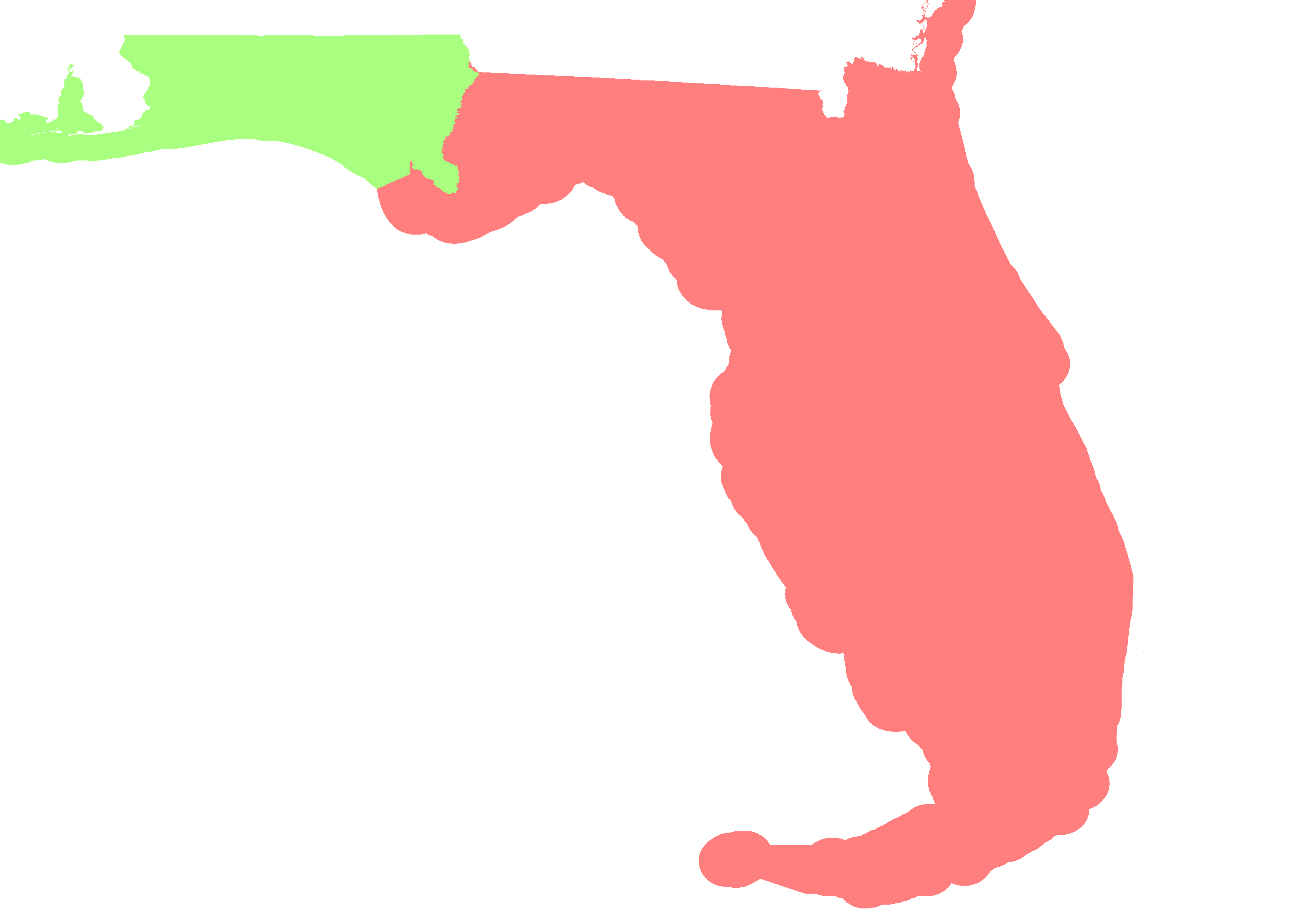 florida map showing time zones