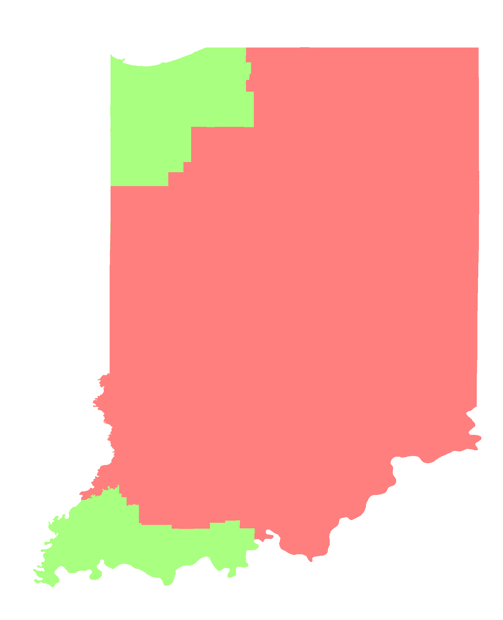 Indiana Time Zone Map